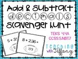 Add and Subtract Decimals Scavenger Hunt TEKS 4.4A