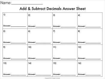 Add and Subtract Decimals Task Cards