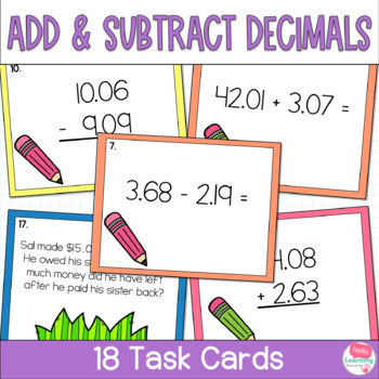 Add and Subtract Decimals Task Cards- Set of 18