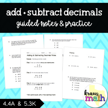 Add and Subtract Decimals Word Problems (4.4A, 5.3K)