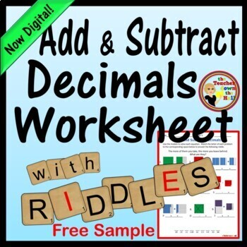 decimals add and subtract decimals worksheet w riddle - Adding And Subtracting Decimals Worksheet