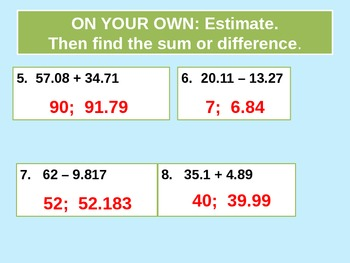 Add and Subtract Decimals for Visual Learners