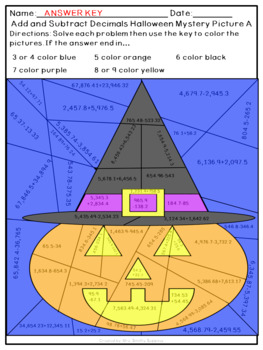 Add and Subtract Decimals to the Hundredth Place Halloween Mystery Pictures