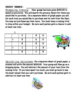 Add and Subtract Decimals using Shopping Activities