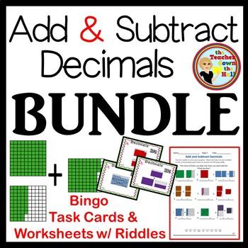 Add and Subtract Decimals BUNDLE (Bingo, Task Cards, Worksheets)