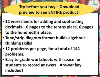 4th Grade Tape / Strip Diagram Worksheets for Adding and Subtracting Decimals