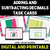 Adding and Subtracting Decimals with Visual Models Task Cards Bundle