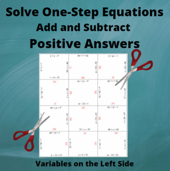 Add and Subtract Equations : Variables on the Left side : Positive Answers