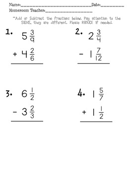 Add and Subtract Fraction Assessment