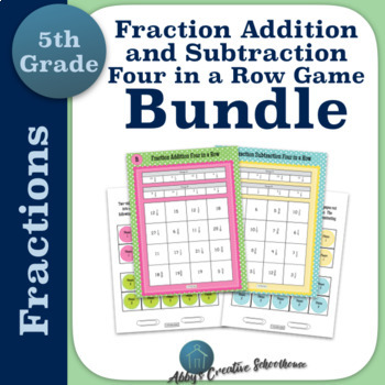 Add and Subtract Fractions 4 in a Row Game BUNDLE