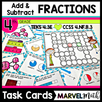 Add and Subtract Fractions 4th Grade 4.NF.B.3 * TEKS 4.3E