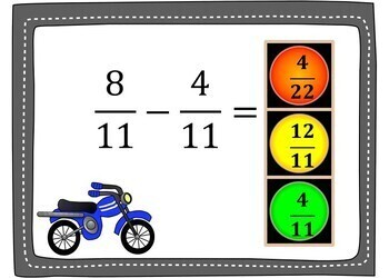 Add and Subtract Fractions Boom Cards - 24 Self-checking Cards!
