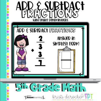 Add and Subtract Fractions- Boom Cards