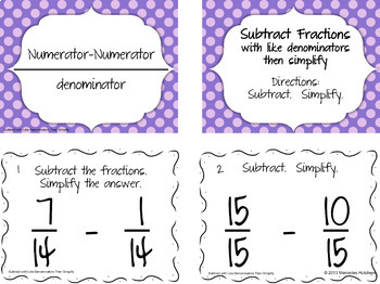Add and Subtract Fractions and Simplify Task Card & PowerPoint Bundle