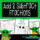 Add and Subtract Fractions Coloring Book Math