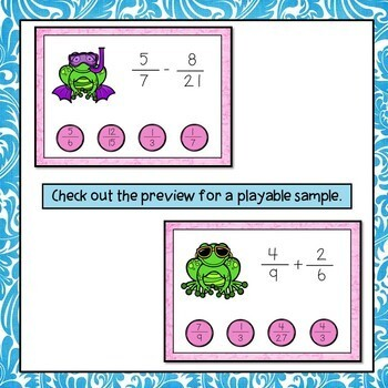 Add and Subtract Fractions Digital Interactive Boom Cards