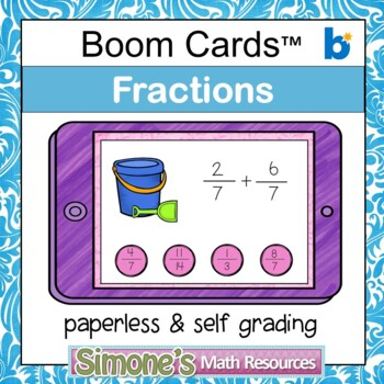 Add and Subtract Fractions Digital Interactive Boom Cards Distance Learning