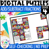Add and Subtract Fractions Digital Puzzles {4.NF.3} 4th Gr