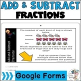 Add and Subtract Fractions | Digital Task Cards | Google Forms |