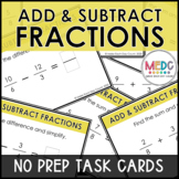 Add and Subtract Fractions Digital Task Cards Google Slides