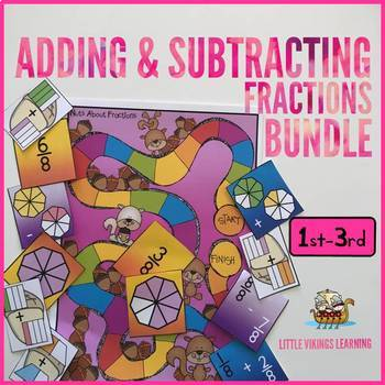 Fractions Add and Subtract Games Bundle