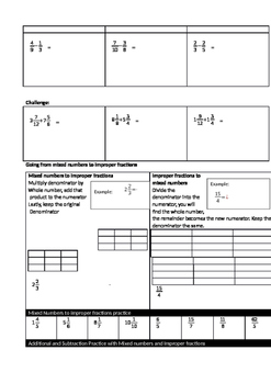Add and Subtract Fractions Guided Notes with Word Problems