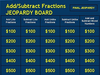 Add and Subtract Fractions Jeopardy