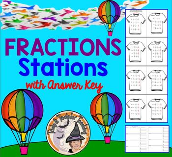 Adding and Subtracting Fractions Mixed Numbers Stations Task Cards with KEY