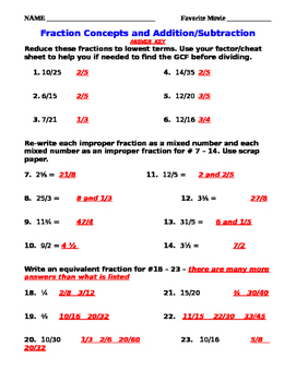 Add and Subtract Fractions Mixed Numbers w/Fraction Concepts