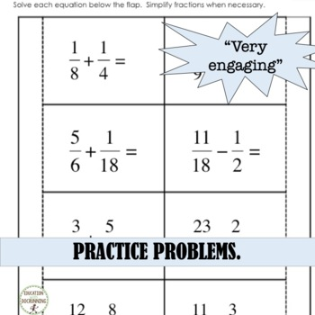 Add and Subtract Fractions Foldables for Interactive Notebooks on Fractions