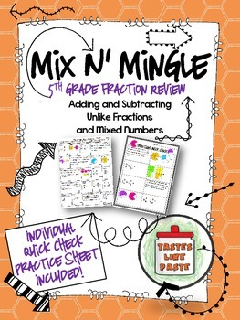 Add and Subtract Fractions Review: Mix n' Mingle *Individual Worksheet Included*