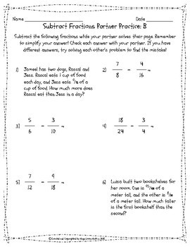 Add and Subtract Fractions: Self Checking Partner Work