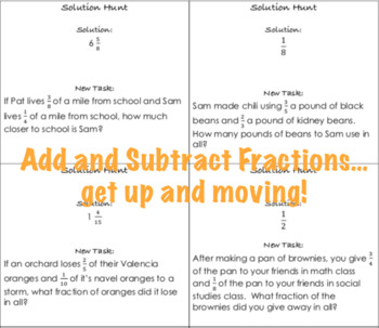Add and Subtract Fractions Solution Hunt