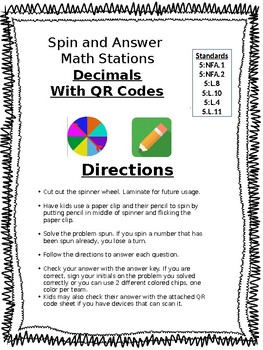 Add and Subtract Fractions Spin and Answer and QR task cards