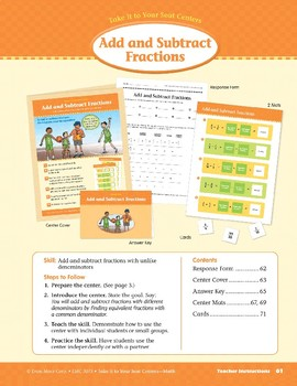 Add and Subtract Fractions (Take It to Your Seat Centers Common Core Math)