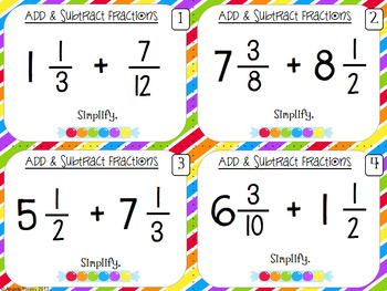 Add and Subtract Fractions Task Cards & Game
