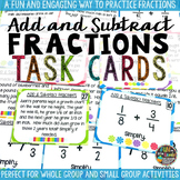 Add and Subtract Fractions Task Cards & Game Math Review