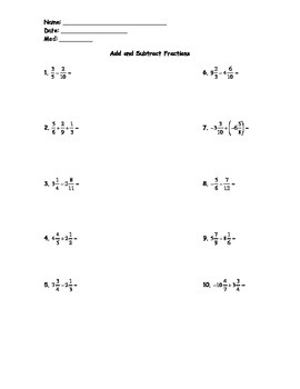 Add and Subtract Fractions Test