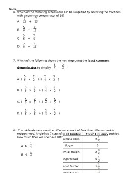 5NFA1 - Add and Subtract Fractions Test