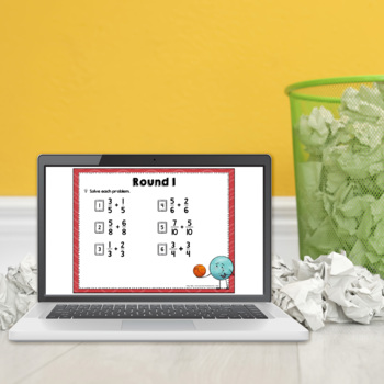 Adding and Subtracting Fractions Trashketball Math Game