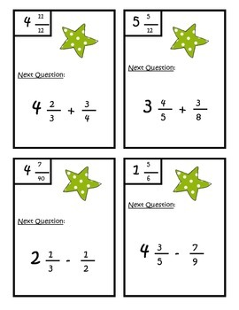 Add and Subtract Fractions With Unlike Denominators Scavenger Hunt 5.NF.A.1
