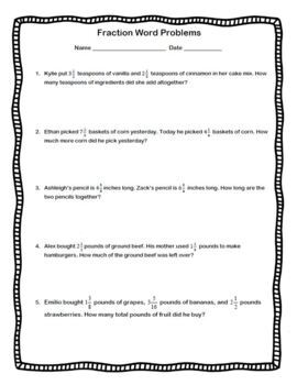 Adding and Subtracting Fractions Word Problems Add Subtract Fraction Worksheet
