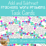 Add and Subtract Fractions Word Problems Task Cards Common Core