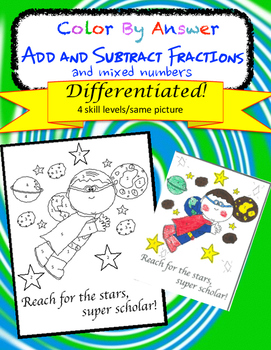 Add and Subtract Fractions and Mixed Numbers Differentiated Color by Answer