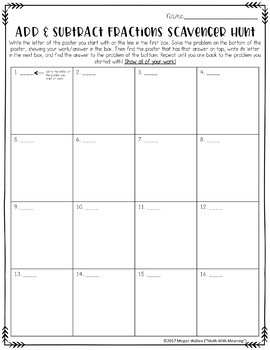 Add and Subtract Fractions and Mixed Numbers Scavenger Hunt