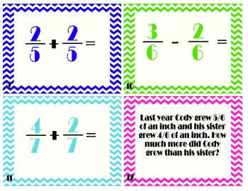 Add and Subtract Fractions with LIKE Denominators Task/Scoot Cards!