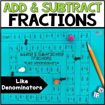 Add and Subtract Fractions with Like Denominators Board Game