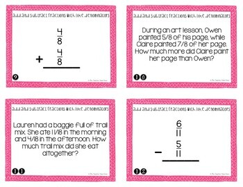 Add and Subtract Fractions with Like Denominators Task Cards