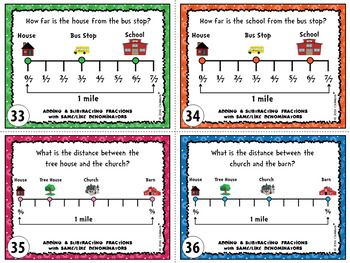 Adding and Subtracting Fractions with Like Denominators Task Cards (Level 1)