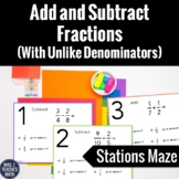 Add and Subtract Fractions with Unlike Demoninators Statio